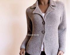 Mano donna maglia maglione di lana di Alpaca Giacca Cardigan
