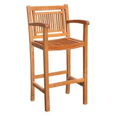 Chic Teak Maldives Teak Outdoor Barstool with Arms - HJ402AC