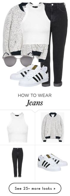 mom jeans inspo by littlemixmakeup on Polyvore featuring Topshop, MANGO, Retrò, adidas, womens clothing, women, female, woman, misses and juniors