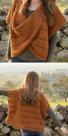 what a unique crochet pattern, love the color and twisted front design #crochet #ad #crochetsweater #crochetpattern