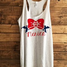SALE- MERICA Bow Racerback, Women's trendy tshirt, 4th july tank, shirts for 4th of july, american flag shirt, american flag tank, racerback