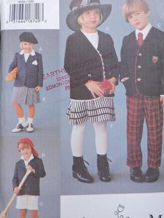 Children's Jacket Skirt Pants and Shorts Boys & Girls Vogue Fashion Designer Sewing Vogue For Me 8920 Uncut Pattern Size 2 to 4 Vogue Sewing Patterns, Sewing Patterns For Kids, Pattern Sewing, Pants Pattern, Baby Boy Outfits, Outfits For Teens, Flannel Material, Girls, Boys