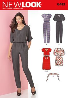 This stylish New Look pattern includes dress and jumpsuit with V-neck and front zip. Jumpsuit has sleeves in two lengths and tapered leg. Dress is featured in two lengths with optional belt.