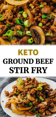 This is a quick and easy recipe for making a ground beef stir fry with mushrooms and onions, tossed in a simple Asian sauce. You only need one pan and seven ingredients to make this low carb keto beef dinner. Healthy Ground Beef, Healthy Beef Recipes, Ground Beef Recipes For Dinner, Dinner With Ground Beef, Ground Beef Recipes Easy, Quick Ground Beef Meals, Healthy Meals For Dinner, Diabetic Recipes For Dinner, Dinner Recipes