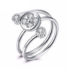 Qinmaer Sterling Silver Rings Cubic Zirconia