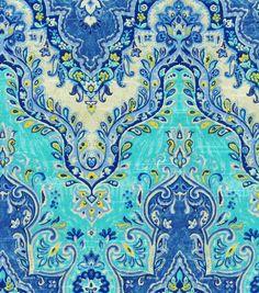 Fabric Designs Home Decor Print Fabric- Waverly Palace Sari/Prussian, , hi-res - Floral Upholstery Fabric, Upholstery Foam, Furniture Upholstery, Drapery Fabric, Floral Fabric, Curtains, Teal Fabric, Upholstery Cleaner, Sari Fabric