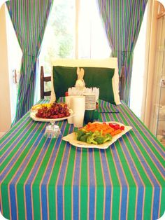 Goodnight Moon table setting...cute idea to make the table the bunny's bed.  this blog had a lot of good ideas