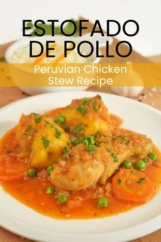 Estofado de Pollo or Peruvian Chicken stew is made with vegetables, potato and ají panca chili pepper. Great for lunch & dinner. Chicharrones Recipe, Pollo Recipe, Stew Chicken Recipe, Chicken Recipes, Peruvian Dishes, Peruvian Cuisine, Peruvian Recipes, Meat Recipes, Cooking Recipes