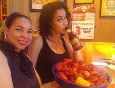 My two favorite girls @callistafoster and @brittcallista having a #louisianaseafood bonding moment! #crawfish #love