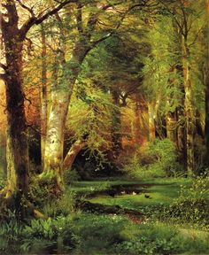 Forest Scene by Thomas Moran.