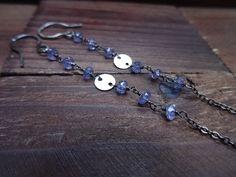 Long Oxidized Silver Earrings  Tanzanite Earrings  by JooniJewelry