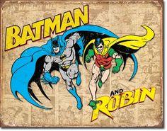 Batman and Robin Weathered Retro Metal Tin Sign Superhero Marvel Comics Poster Batman Poster, Superhero Poster, Superhero Movies, Superhero Room, Superman Room, Superhero Images, Superhero Party, Pub Vintage, Vintage Metal Signs