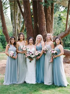 blue jenny yoo bridesmaid dresses @weddingchicks