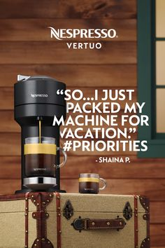 "We get it, Shaina. Wherever we go, our favorite coffee maker comes too. Even if that means one less pair of shoes so Nespresso Vertuo can tag along. Measuring only 5.5"" wide, its slim design makes it the perfect addition to any countertop. Bring the cafe experience home — or on the road. Because you don't want just any morning coffee. Nespresso Recipes, Nespresso Usa, Coffee Machine, Coffee Maker, Nespresso Boutique, Home Coffee Stations, Kids House, Countertop, Morning Coffee"