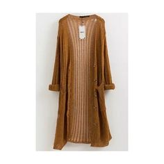 LUCLUC Yellow Hollow-out Long Cardigans Cardigan (90 SAR) ❤ liked on Polyvore featuring tops, cardigans, long yellow cardigan, yellow cardigan, long brown cardigan, brown cardigan and brown tops