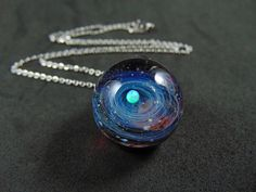 Tiny galaxy glass pendant necklace, Silver fumed Borosilicate space necklace, with a floating opal planet, Red tiny galaxy pendant with opal - İnteresting İnformation And Curiosities Interesting Information, Handmade Beads, Glass Pendants, Necklace Lengths, Planets, Opal, Pendant Necklace, Pure Products, Chain