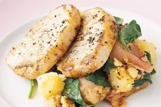 Pork with crushed potatoes