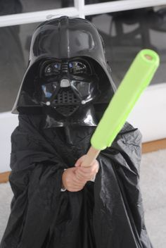 Cute Homemade DIY Darth Vader Star Wars Halloween costume using items from a discount store!
