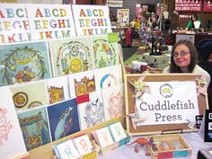 Cuddlefish Press Craft Fair Display for art prints