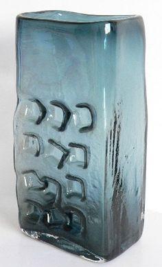 Whitefriars Glass Goeffrey Baxter Textured Indigo Hobnail Slab Vase No.9668 (Nuts & Bolts)
