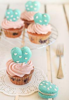 Heart polka dot macarons & vanilla bean blueberry cupcakes from Raspberri Cupcakes