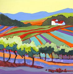 contemporary landscape painting of a vineyard, Namaste Vineyards by Carolee Clark