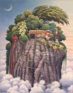 """""""Peu de place sur la montagne"""" de Jacek Yerka"""