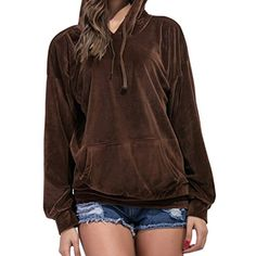 SYTX Womens Velvet Solid Loose Hoodies Hooded Sweatshirts Coat * To view further for this item, visit the image link. (This is an affiliate link) #FashionHoodiesSweatshirts