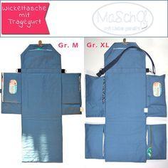 Eine Wickelunterlage als Tasche zusammenfaltbar. In diese gefaltete Wickeltasche/Windeltasche passt alles Notwendige hinein was Sie für unterwegs benötigen.