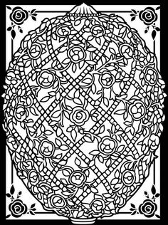 Free printable Easter egg art coloring page that's more intricate for older kids