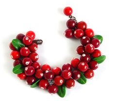 Real summer Forest cranberry charm bracelet  eco by PolyNaSTUDIO