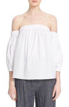 Milly Off the Shoulder Poplin Blouse available at #Nordstrom