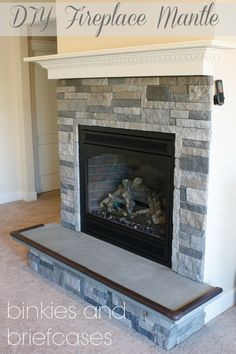 """Build your own fire place mantle with 5 boards - THE """"BRICKS"""" ARE FROM AIRSTONE.COM.  THEY WEIGH 75% LESS THAN ACTUAL STONE AND ARE ALSO CHEAPER."""