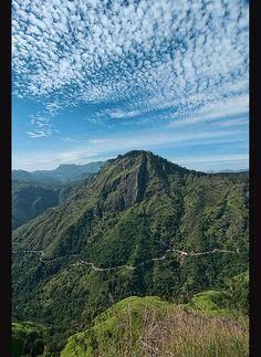 View through the beautiful Ella Gap from Little Adams Peak near Ella, Sri Lanka