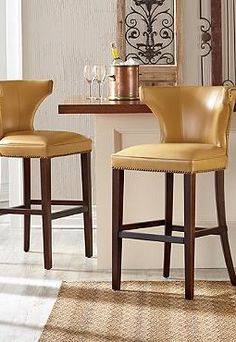 Morgan Leather Bar Stool - Grandin Road