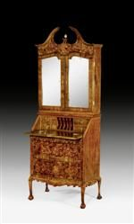 """BUREAU CABINET,known as a """"Trumeau"""", probably northern Italy, 18th century.   Purpleheart and various fruitwoods in veneer with fine inlays. Hinged writing surface above commode lower section with 2 drawers. Fitted interior with five-part central compartment and 2 stacked drawers on each side. Recessed upper section with mirrored double doors. Supplements. 74x42x(open 67)x200 cm."""