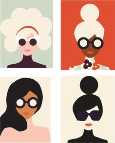 Image Based Design: This poster for international women's day utlizes simple shapes and blocks of color to create silhouettes of various women. The work does not rely on detail to get the point across, but instead common shapes. Free Illustration, Graphic Design Illustration, Woman Illustration, Kunst Inspo, Art Inspo, Arte Pop, Graphic Design Inspiration, Art Girl, Pop Art