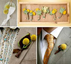 crochet billy button flowers | billy button yellow boutonnieres