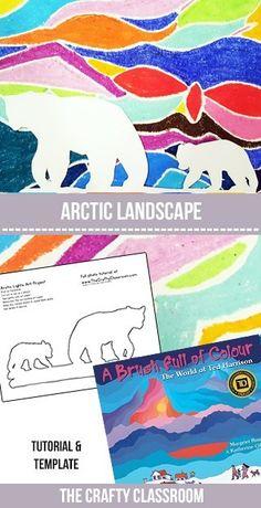 Bear Landscape Art Project Stunning Polar Bear Art for Kids! Full Photo TutorialStunning Polar Bear Art for Kids! Winter Art Projects, School Art Projects, Art School, Art D'ours, Art Pastel, Classe D'art, Arctic Landscape, Winter Landscape, January Art