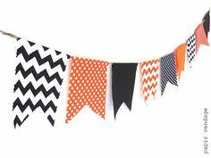 Halloween Bunting Banner, Orange & Black Chevron and Polka Dots Bunting, Fall Decorations, Halloween Decorations, Halloween Photo Prop