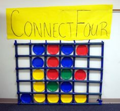 Life size connect four game - use painters tape on the wall and different colored paper plates - Life Size Board Games Camp.Apparently I'm a sucker for life size games at the library. Youth Group Games, Family Games, Youth Groups, Couple Games, Activity Games, Fun Games, Relay Games, Dice Games, Life Size Connect Four