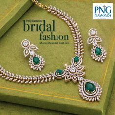 Green is for happy weddings and happier lives. Watch this resplendent diamond and #Emerald stone neckpiece weave its magic on your bridal day. PNG #Bridal Collection available in stores.