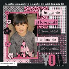 Like pink and black together...simple one pic #layout. Just pinned by Scrap 'n Paradise, your Oklahoma #Scrapbook #Retreat. Http://scrapnparadise.webs.com