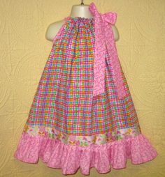 Girls Dress Fits 4T to 5 Pink Plaid Boutique by ninisnotions, $15.00