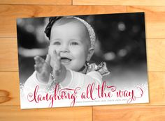 Photo Christmas Card Calligraphy Swirly Type Laughing by LNZart, $15.00
