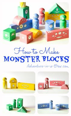 Monster Building Blocks: Halloween Party Favour for Babies and Toddlers, or just make for your own! Creative, colorful, and fun! Monster Activities, Monster Crafts, Halloween Activities, Toddler Activities, Kids Crafts, Projects For Kids, Diy For Kids, Block Play, Halloween Party Favors