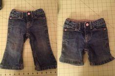 Refashion: Toddler pants turned into shorts (while keeping original hem)