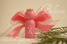 breast cancer awareness angel ornaments