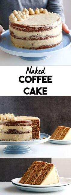 Moist Layered Coffee Cake - A soft 3 layered naked coffee cake. Moist Layered Coffee Cake - A soft 3 layered naked coffee cake with a delicious silky coffee Italian meringue buttercream. With an instructional video on how to easily decorate it. Beaux Desserts, Just Desserts, Delicious Desserts, Baking Recipes, Cake Recipes, Dessert Recipes, Dutch Recipes, Food Cakes, Cupcake Cakes