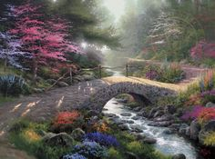 Thomas Kinkade Bridge of Faith painting is shipped worldwide,including stretched canvas and framed art.This Thomas Kinkade Bridge of Faith painting is available at custom size. Creation Image, Thomas Kinkade Art, Kinkade Paintings, Oil Paintings, Landscape Paintings, Original Paintings, Thomas Kincaid, Image Blog, Art Thomas